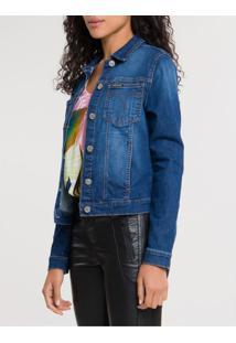 Jaqueta Jeans Trucker Bolso Chapado - Azul Médio - G