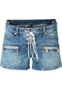 Unravel Project Short Jeans Com Amarração - Azul