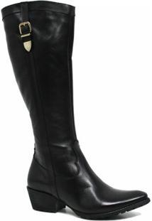 Bota Zariff Shoes Montaria Em Couro Fivela Feminina - Feminino-Preto