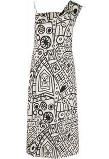 Colville Graphic-Print One-Shoulder Dress - Branco