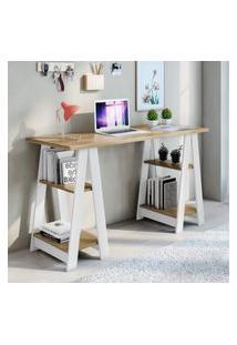 Mesa Escrivaninha 4 Prateleiras Jcm Movelaria Vigor Noronha E Branco