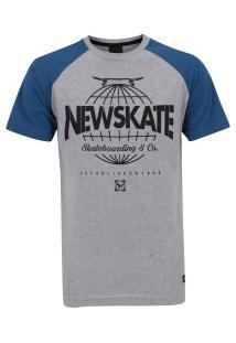 Camiseta Newskate Silk Globe - Masculina - Cinza/Azul