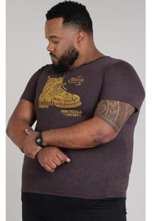 "Camiseta Masculina Plus Size ""The Mountains"" Manga Curta Gola Careca Vinho"