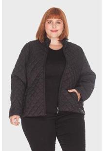 Jaqueta Losango Plus Size Mirasul Feminina - Feminino-Preto