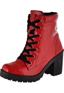 Bota Feshion Sapatofranca Ankle Boot Salto Médio Com Cadarço Vermelha