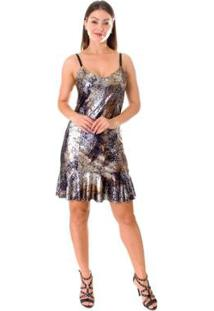 Vestido Opera Rock Metalizado - Feminino-Prata