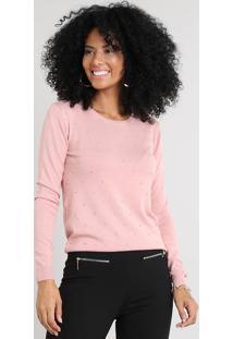 Suéter Feminino Em Tricô Com Bordado Rosê