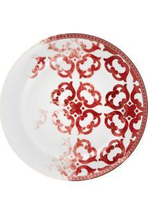 Prato Sobremesa Timeless Porcelana Unidade Branco E Vermelho Vista Alegre Atlantis