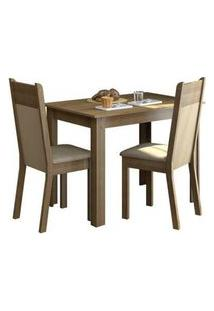 Conjunto Sala De Jantar Madesa Lola Mesa Tampo De Madeira Com 2 Cadeiras Rustic/Crema/Pérola Rustic