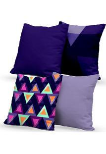 Kit 4 Capas Almofadas Decorativas Own Triângulos Coloridos 45X45 - Somente Capa