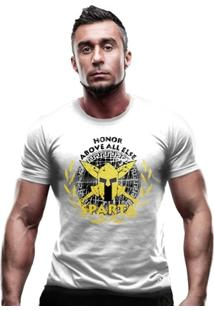 Camiseta Militar Molon Labe Estampa Dourada - Masculino