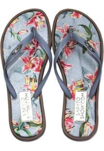 Chinelo Sapato Show Tecido Estampado Feminino - Feminino-Azul