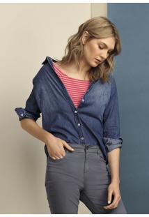 Camisa Jeans Feminina De Manga Em Tecido De Algodão