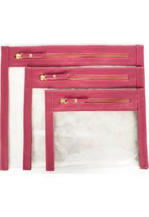 Kit Necessaires De Couro Yasrro Cristal Rosa