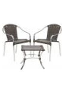 Jogo Cadeiras 2Un E Mesa De Centro Pinheiro Para Edicula Jardim Area Varanda Descanso - Pedra Ferro