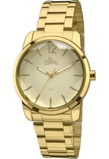 Relógio Allora Facetados Flor Da Pele - Feminino-Dourado