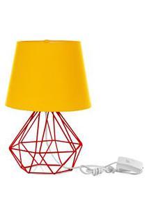 Abajur Diamante Dome Amarelo Com Aramado Vermelho