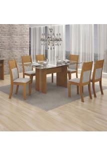 Conjunto De Mesa De Jantar Com 6 Cadeiras Havaí Veludo Imbuia E Palha
