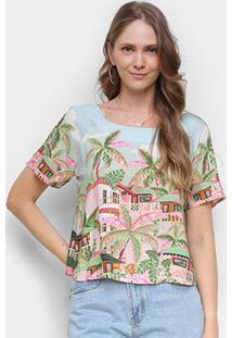 Camiseta Farm Baga Feminina - Feminino-Azul+Rosa