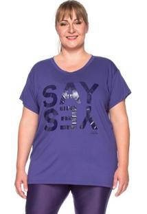 Camiseta Fitness Plus Size Say Yes - Feminino-Roxo