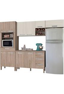 Cozinha Modulada Ametista 5 Módulos Composição 2 Nogal/Arena - Kit'S P