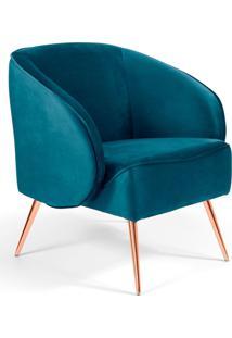 Poltrona Decorativa Fixa Pã©S Palito Metalizado Agnes Veludo Turquesa B-66 - Lyam Decor - Azul - Dafiti