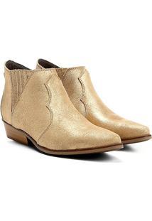 Bota Couro Chelsea Shoestock Cano Curto Feminina - Feminino-Dourado