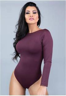 Body Manga Longa Mvb Modas Costa Nua Feminino - Feminino-Vinho