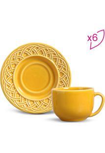 Jogo De Xícaras De Chá Cestino- Amarelo- 6Pçs- 1Porto Brasil