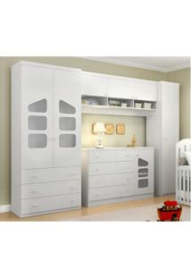 Quarto Infantil Phoenix Baby Com Guarda Roupa Modulado E Cômoda Eloísa 04 Peças Branco