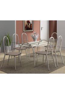 Mesa 379 Com Vidro Incolor Cromada Com 6 Cadeiras 182 Camurça Conhaque Carraro
