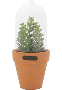 Vaso Com Tampa Cotyledun Sucullent Verde E Laranja 889X889X2223Cm Urban