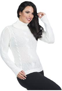 Blusa Tricot Frio Feminina Gola Alta Branco Tam.Único - Kanui