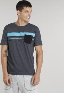 Camiseta Masculina Com Listras E Bolso Manga Curta Gola Careca Cinza Mescla Escuro