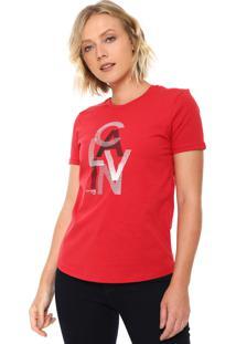 ... Camiseta Calvin Klein Jeans Estampada Vermelha d82d83a7776