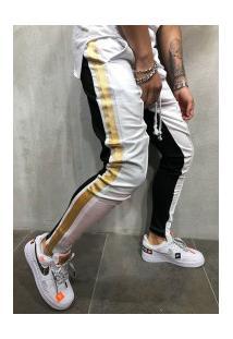Calça Masculina Slim Striped Duas Cores - Branca E Preta