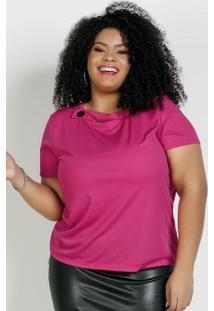 Blusa Pink Com Botão E Mangas Curtas Plus Size
