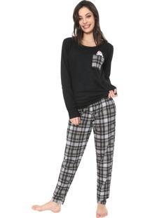 Pijama Bela Notte Xadrez Preto/Cinza