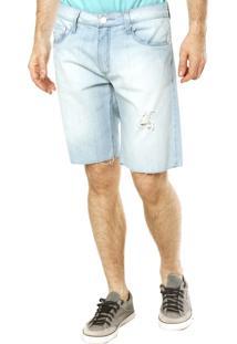 Bermuda Calvin Klein Jeans Puídos Azul
