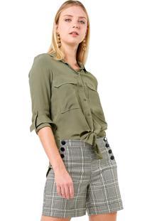 Camisa Crepe Mx Fashion Luíza Verde Militar