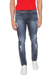 Calça Jeans Guess Skinny Destroyed Azul
