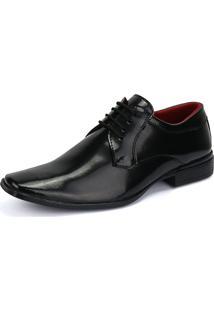 Sapato Social Rebento Com Cadarço Verniz Preto