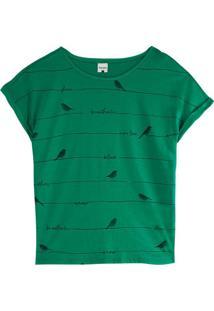 Blusa Verde Ampla Aves Em Malha