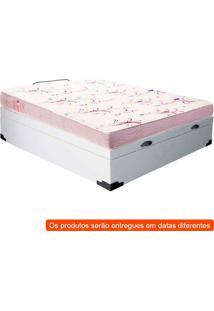 Cama Box Casal Premium Com Baú Corino Branco E Colchão Casal Physical Espuma D20 Branco.