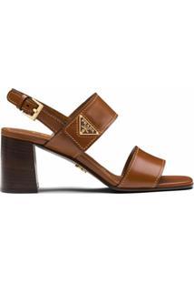Prada Sandália Com Placa De Logo E Solado De Madeira - Marrom