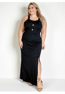 Vestido Longo Preto Com Babados Plus Size