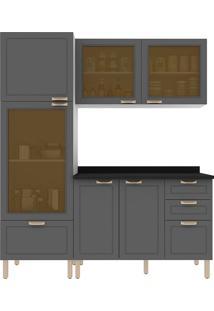 Cozinha Modulada 4 Peças Com Tampo E Nevada 5600Vdtp-Multimóveis - Branco Premium / Grafite Premium