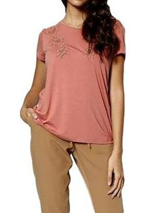 Blusa You Two Manga Curta Feminina - Feminino-Rosa