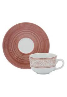 Xícara Café Com Pires Porcelana Schmidt - Dec. Millenium