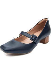 Sapato Boneca Pattini Confort Em Couro Salto Médio Azul Marinho
